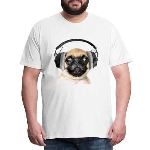 Mops mit Kopfhörer - Männer Premium T-Shirt