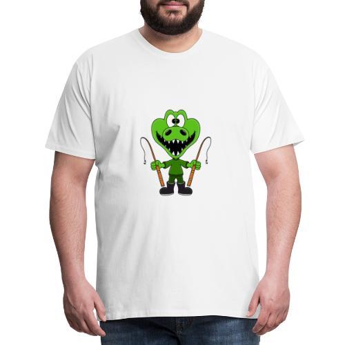 Lustiges Krokodil - Angeln - Angler - Fun - Männer Premium T-Shirt