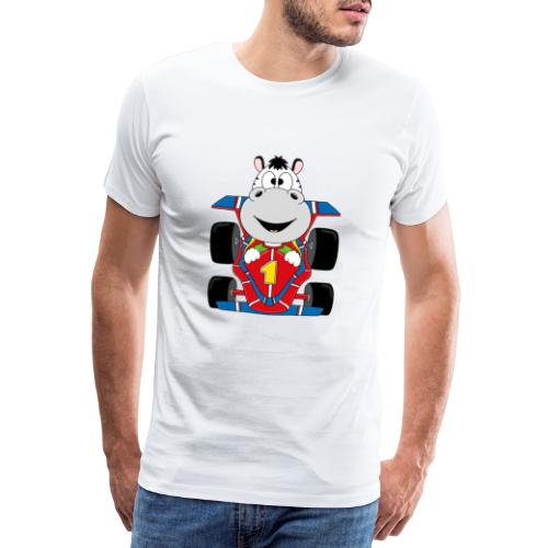 Lustiges Zebra - Rennauto - Auto - Nummer 1 - Männer Premium T-Shirt