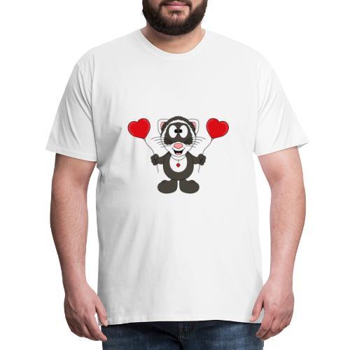 Lustiges Frettchen - Herzen - Luftballons - Tier - Männer Premium T-Shirt