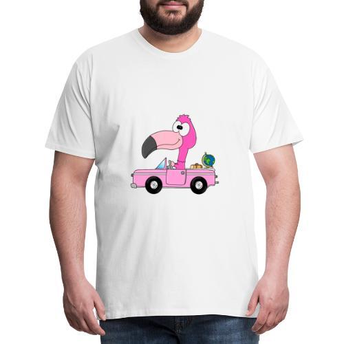 Lustiger Flamingo - Auto - Weltenbummler - Reise - Männer Premium T-Shirt