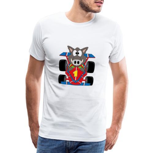 Lustiges Wildschwein - Rennwagen - Auto - Tier - Männer Premium T-Shirt