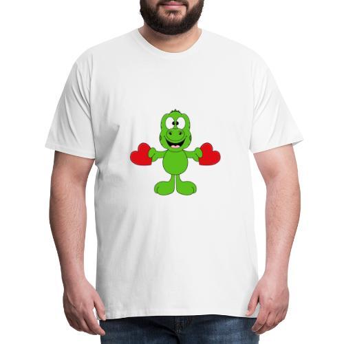 Lustiger Gecko - Echse - Herzen - Liebe - Love - Männer Premium T-Shirt