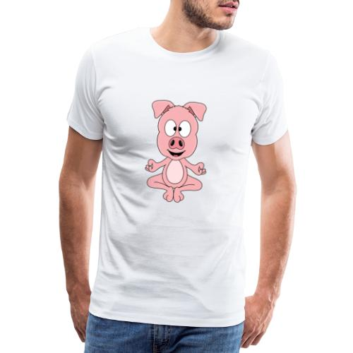 Lustiges Schwein - Yoga - Chill - Relax - Tier - Männer Premium T-Shirt