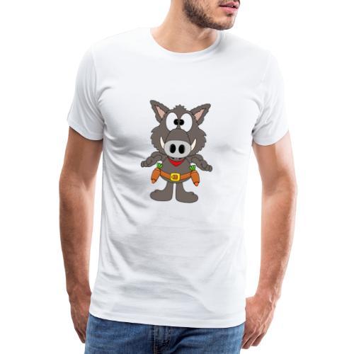 Lustiges Wildschwein - Cowboy - Möhren - Gemüse - Männer Premium T-Shirt