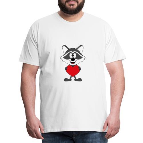 Waschbär - Herz - Liebe - Love - Kind - Tier - Männer Premium T-Shirt