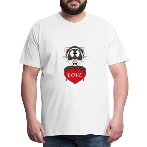 Frettchen - Herz - Liebe - Love - Tier - Kind - Männer Premium T-Shirt
