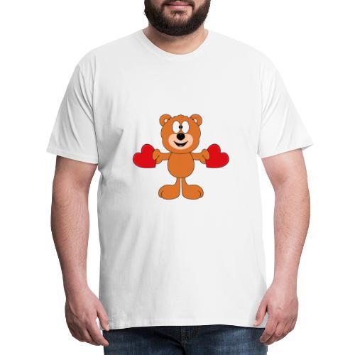 Teddy - Bär - Herzen - Liebe - Love - Tier - Männer Premium T-Shirt