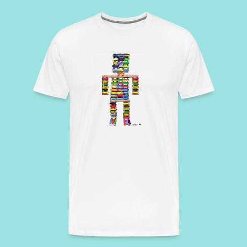 Roboter, Kinder, Holz, Liebe, Herz, Bausteine, Art - Männer Premium T-Shirt