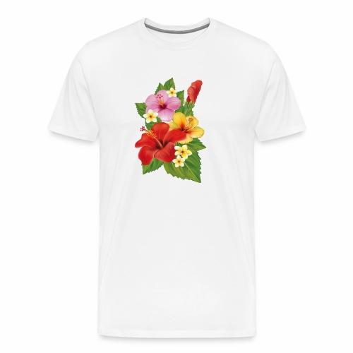 Flor de Verano Rosas y flores verdes - Camiseta premium hombre