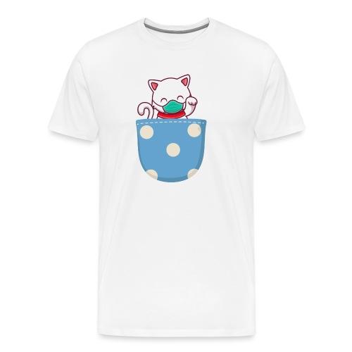 Gatito blanco en bolsillo de bolitas - Camiseta premium hombre