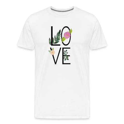 Love Sign with flowers - Men's Premium T-Shirt