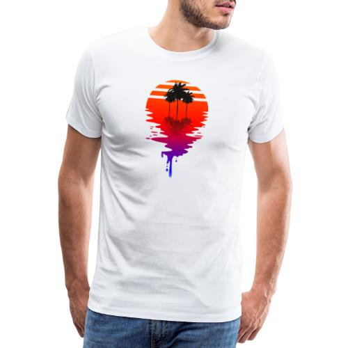 Dripping Sun - Retrowave Sonne mit Palmen - Männer Premium T-Shirt
