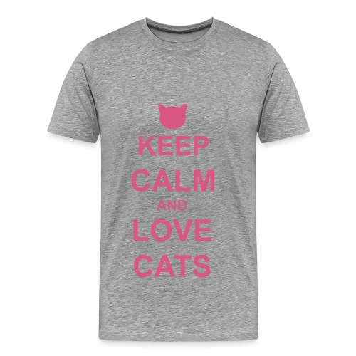 Keep Calm and Love Cats - Pink - Men's Premium T-Shirt