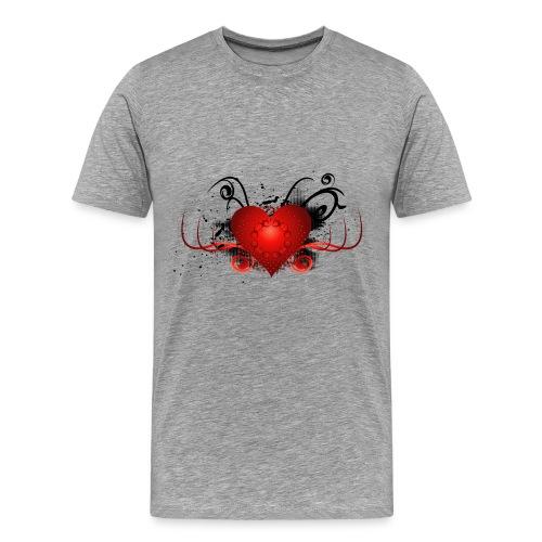 Maravilloso corazón decorativo con grunge. - Camiseta premium hombre