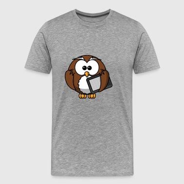 Owl med Reader - Premium-T-shirt herr
