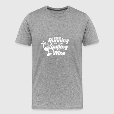 Próbowałem działa ale trzymałem moją rozlewając wino - białe - Koszulka męska Premium
