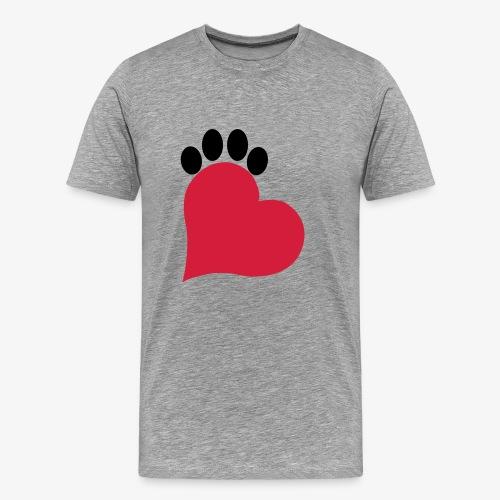 Herz und Pfote Katze - Männer Premium T-Shirt