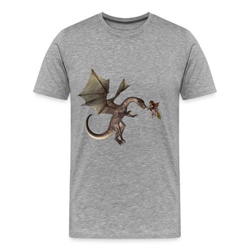 Dragón impresionante con linda hada - Camiseta premium hombre