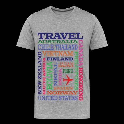Travel Places design - Miesten premium t-paita