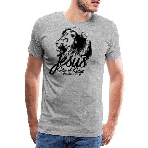 LION - JESUS KING OF KINGS // Black - Men's Premium T-Shirt