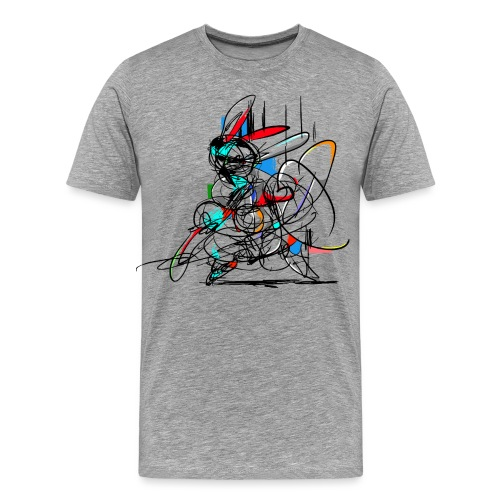 Ninja fighter Easter Bunny / Abstract - Men's Premium T-Shirt