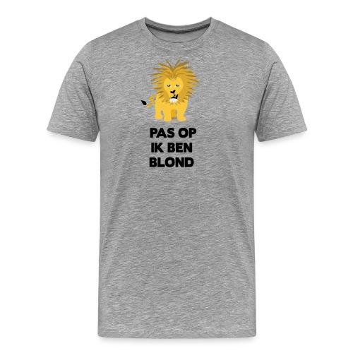 Pas op ik ben blond een cartoon van blonde leeuw - Mannen Premium T-shirt