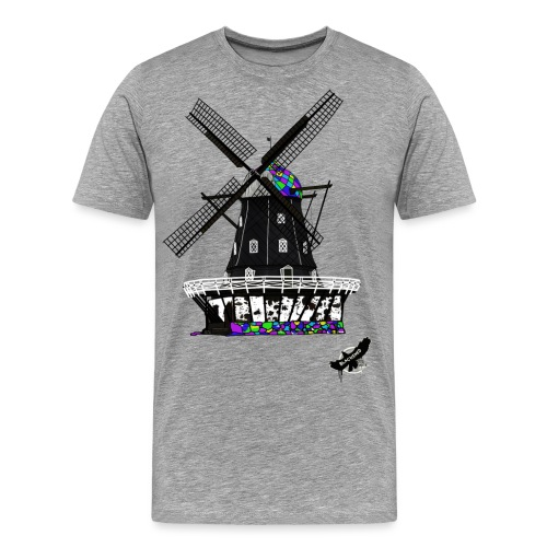 Windmill by BlackenedMoonArts, with logo - Herre premium T-shirt