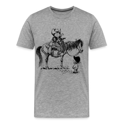 Thelwell Cartoon Cowboy mit seinem Pony - Männer Premium T-Shirt