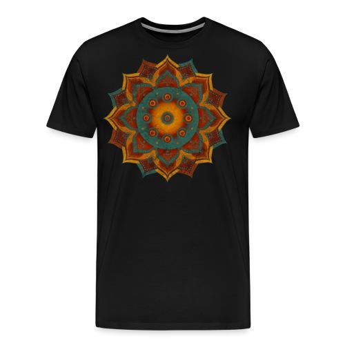 HANDPAN hang drum MANDALA teal red brown - Männer Premium T-Shirt