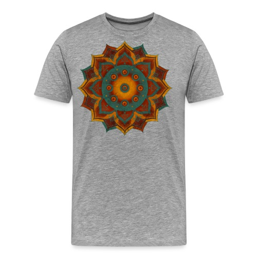 HANDPAN hang drum MANDALA teal red brown - Männer Premium T-Shirt