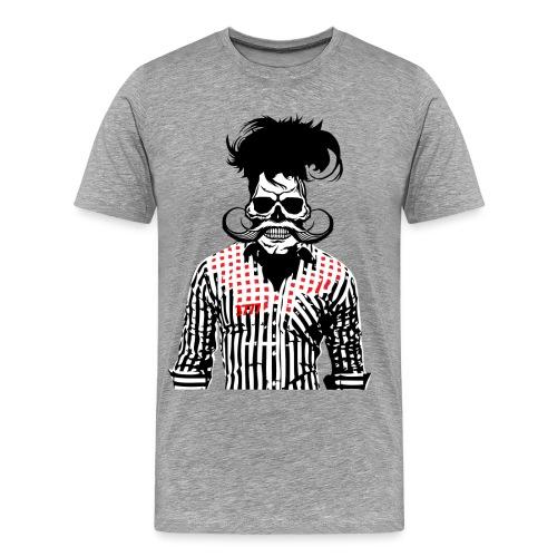 tete de mort hipster chemise skull moustache crane - T-shirt Premium Homme