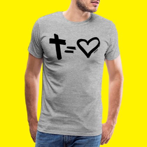 Cross = Heart BLACK - Men's Premium T-Shirt
