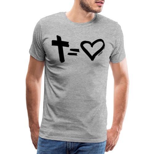 Cross = Heart BLACK // Cross = Love BLACK - Men's Premium T-Shirt