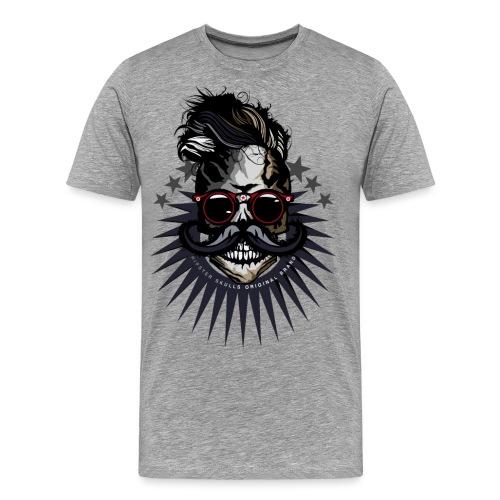 tete de mort hipster crane moustache skull logo lu - T-shirt Premium Homme
