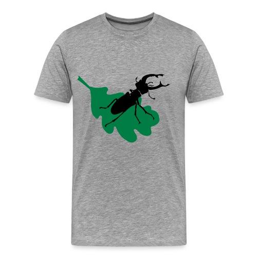 Stag beetle on leaf - Men's Premium T-Shirt