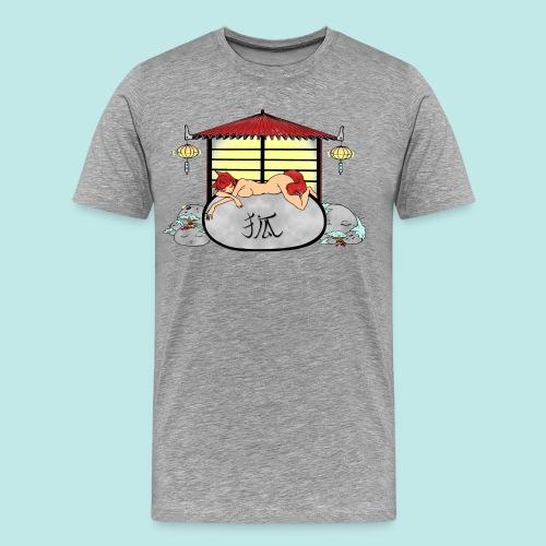 Déesse renard Inari jardin zen temple japonais - T-shirt Premium Homme