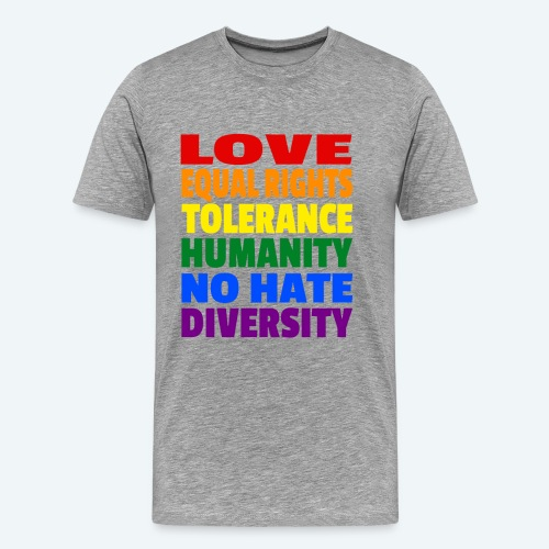 LGBT Flagge - Love Equal Rights Tolerance CSD - Männer Premium T-Shirt
