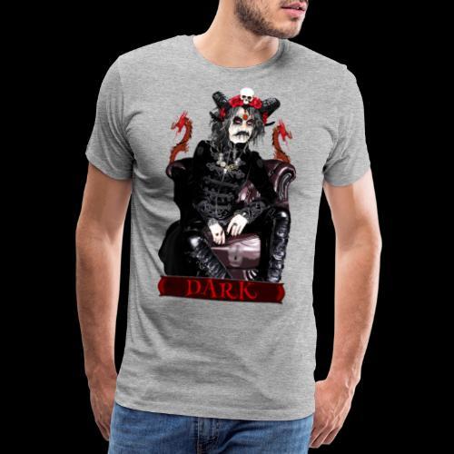 Créature gothique assise avec crânes et dragons - T-shirt Premium Homme