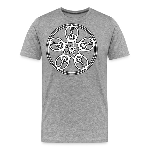CELTIC CLEF MANDALA (white/black outline) - Men's Premium T-Shirt