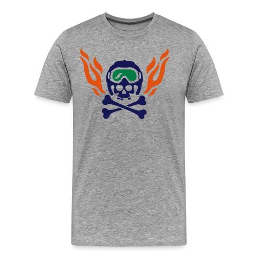 Totenkopf mit Skihelm, Skibrille und Flammen - Männer Premium T-Shirt