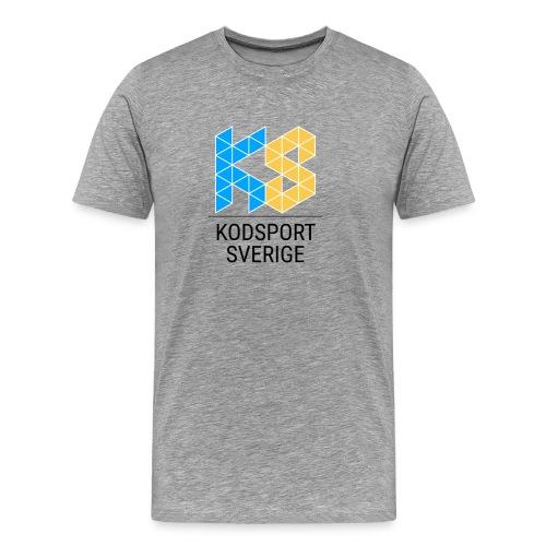 Kodsport kvadratisk logotyp - svart text - Premium-T-shirt herr