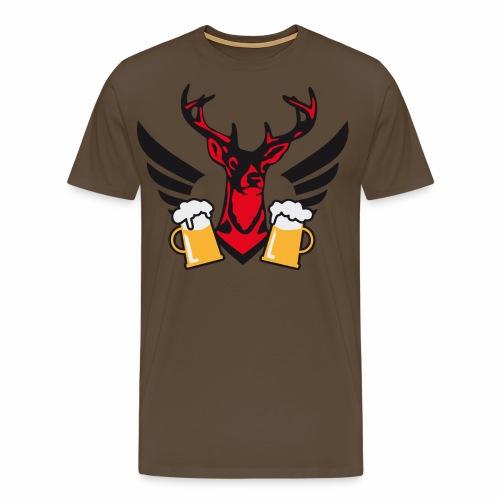 Hirsch Fluegel Mass Bier Bierkrüge zum Anstossen - Männer Premium T-Shirt