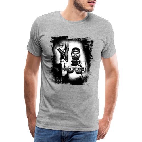 masked girl with AK - FUCK CORONA 4 white clothes - Männer Premium T-Shirt