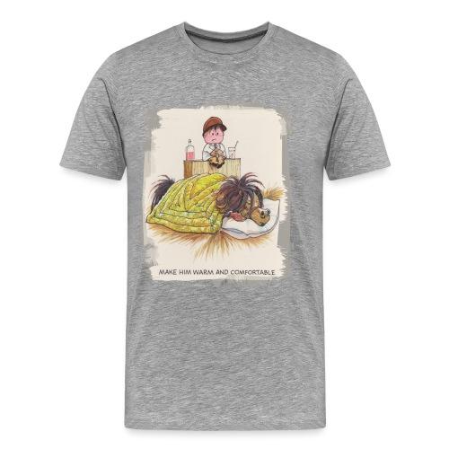Thelwell Cartoon Pony liegt unter der Bettdecke - Männer Premium T-Shirt