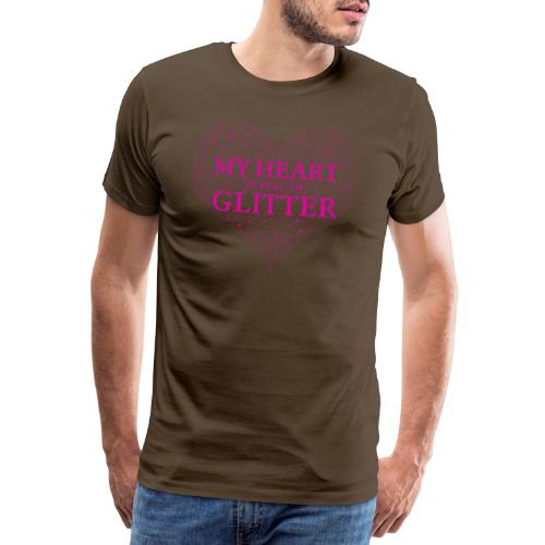 Herz Glitzer - Männer Premium T-Shirt