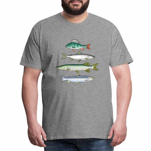 FOUR FISH - Ahven, siika, hauki ja taimen products - Miesten premium t-paita