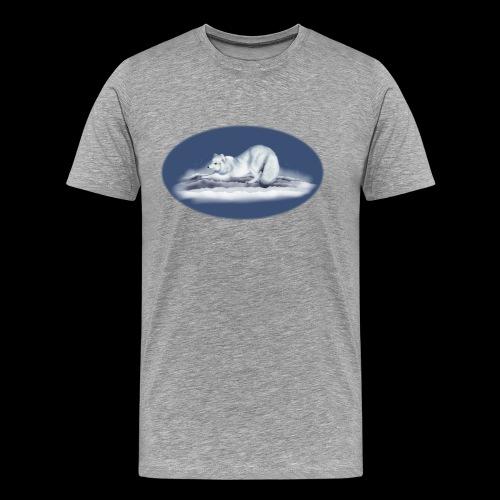 Arctic Fox on snow - Men's Premium T-Shirt
