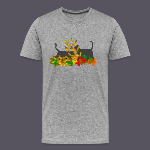 spielende Katzen in bunten Blättern - Männer Premium T-Shirt