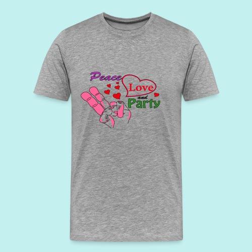 Peace, Love and Party - Retro Design - Männer Premium T-Shirt